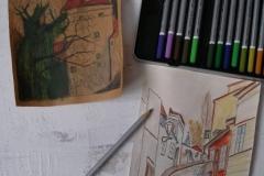 курс по скетчинга в Арт-нуво рисуем карандашами